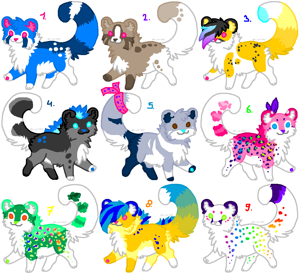 Big Batch of more Adoptables - CLOSED- by PoonieFox