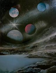 Planets over lake