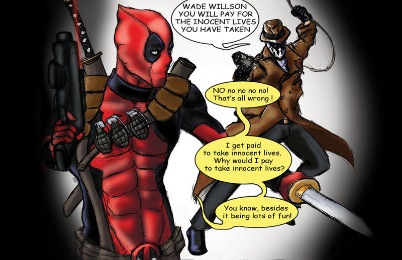 Rorschach Vs  Deadpool redo by TheFireAngel