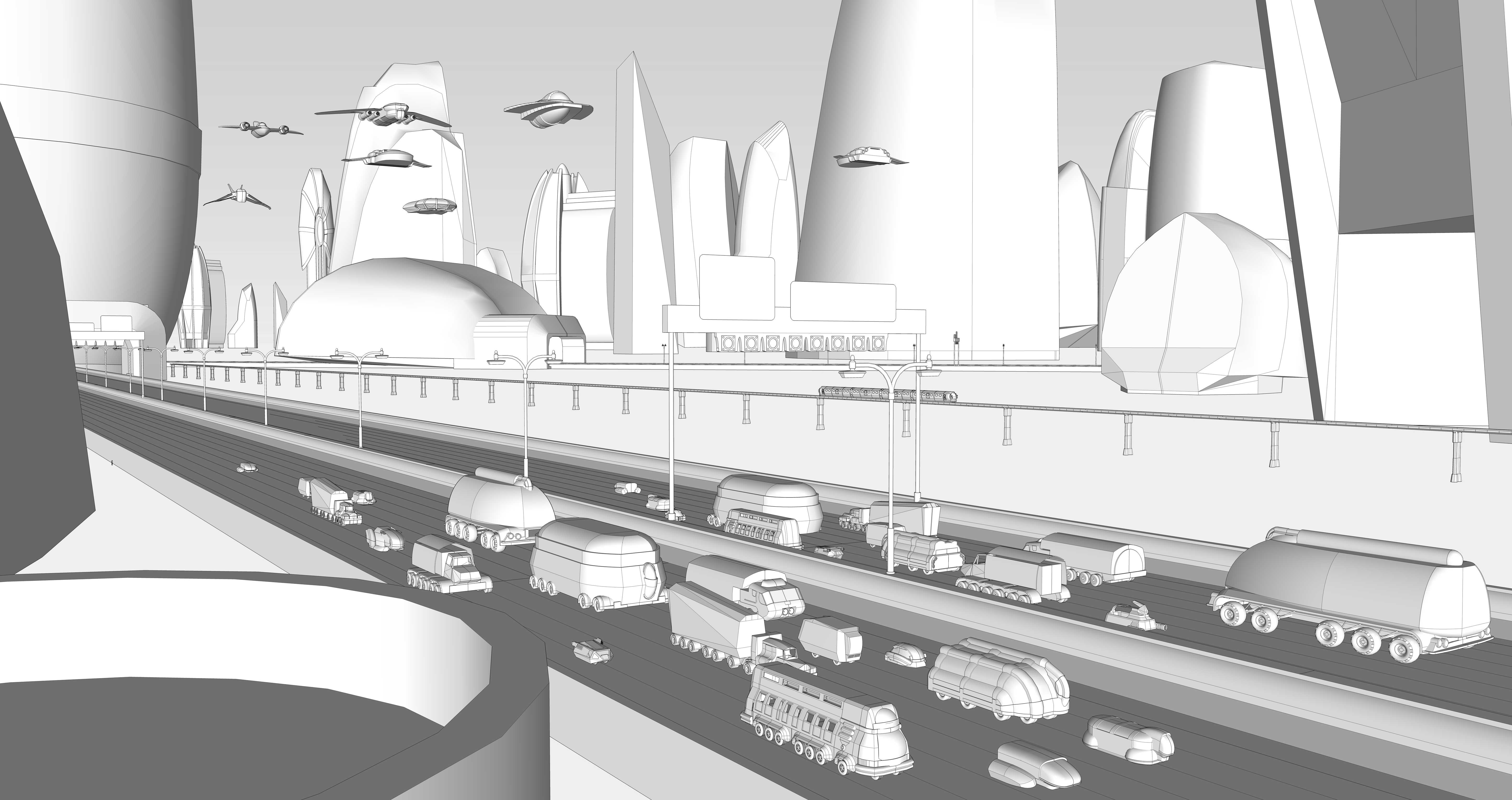 SketchUp Mega Mega City One by KevLev