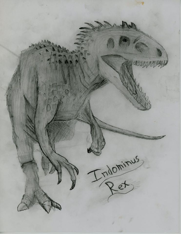 jurassic world hand made drawing of a i rex