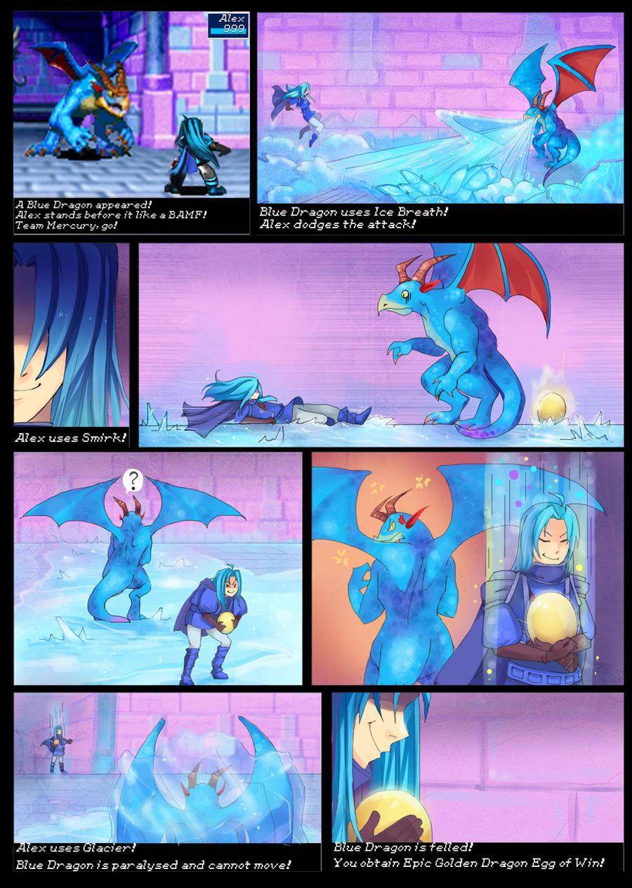 Team Mercury - Alex vs. Blue Dragon by DeviantKirigishi