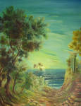 Forest, ruins and sea by Periya