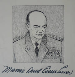 Dwight D. Eisenhower - Portrait with signature by RunaLon