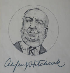 Sir Alfred Hitchcock - Portrait with signature by RunaLon