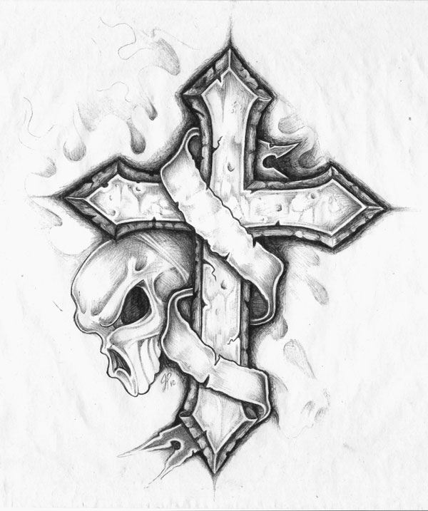 cross and skull w banner by yodahimself on deviantart rh yodahimself deviantart com Celtic Cross with Banner Tattoo Cross Tattoo Designs in the Middle and a Banner with Emerald Green