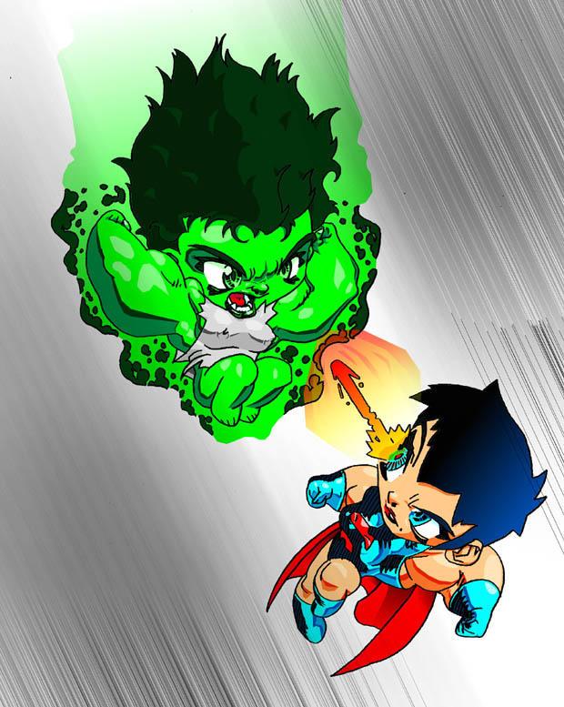 Hulk Chibi Chibi She Hulk vs Super Girl