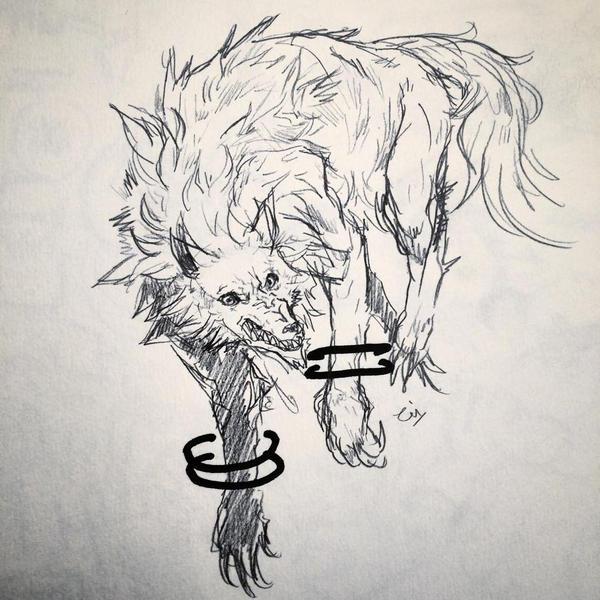 wolf sketch by thirteenz