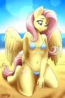 Fluttershy on Beach by SparklyOn3