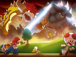 Godzilla VS- The Mushroom Kingdom by OUTCASTComix