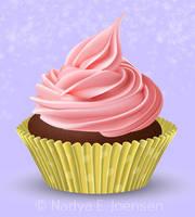 Pink vector cupcake