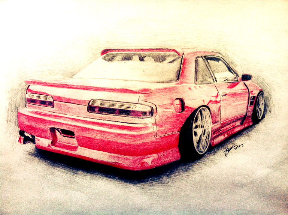 Stanced Hellaflush Nissan S13 PS13 Drawing By Xinize