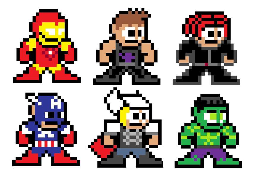 8 Bit Cartoon Characters : The avengers bit stile by davidpalacios on deviantart