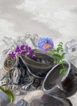 Commission: JunkYard Flowers