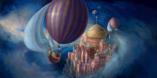A Virtual Reality Dream: Ballooning in Liesel City by Vladinakova