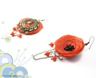 Poppy Earrings by FoamBubbles