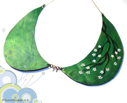 Leather Collar Necklace with a blossom branch