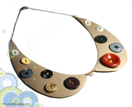 Leather Collar Necklace with buttons