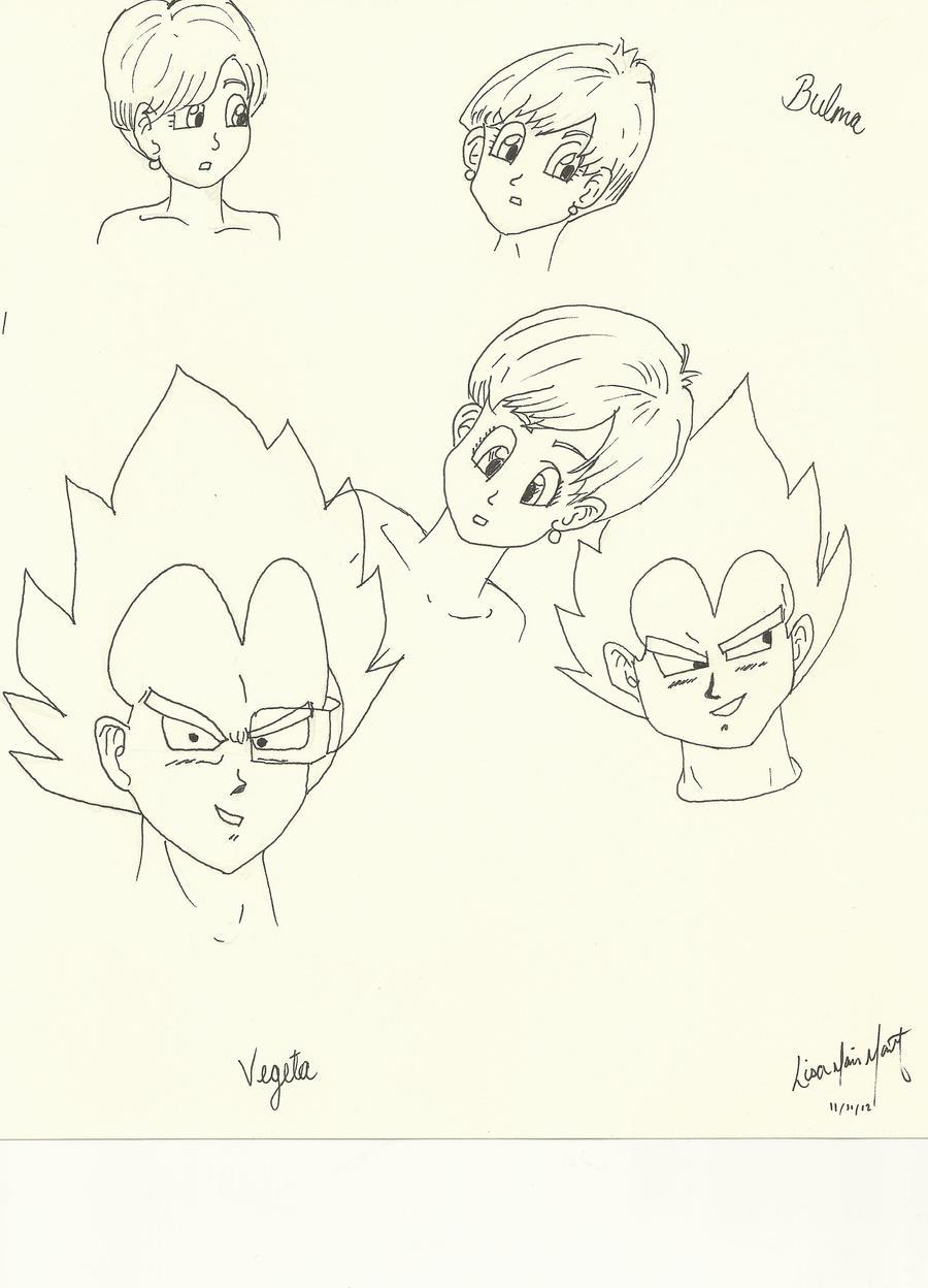 Vegeta Bulma Doodles by Lyssana11