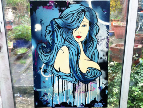 Stencil graffiti canvas