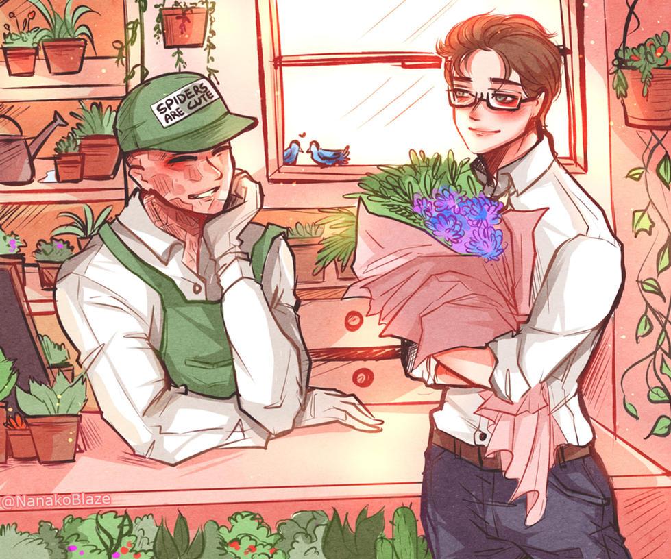 Flower Shop AU Spideypool by NanakoBlaze