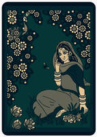 SHRI RADHARANI talking to a BUMBLEBEE - dark green by Mohinipriya