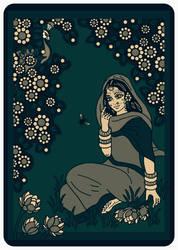 SHRI RADHARANI talking to a BUMBLEBEE - dark green by Mohinipriya