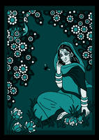 SHRIMATI RADHARANI talking to a BUMBLEBEE - blue by Mohinipriya
