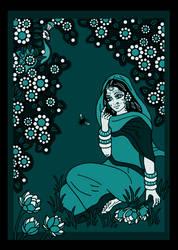 SHRIMATI RADHARANI talking to a BUMBLEBEE - blue by Mohinipriya