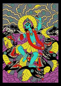 Shri Krishna dancing on Kaliya Serpent