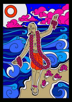 Shri Chaitanya Mahaprabhu dancing at the beach