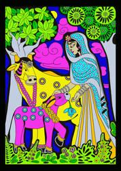 Shrimati Radharani with cows by Mohinipriya