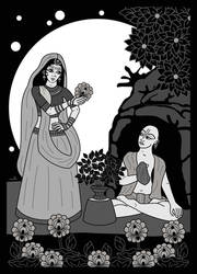 Haridas Thakura and Maya Devi b/w by Mohinipriya