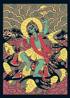Sri Krishna dancing on Kaliya serpent - retro by Mohinipriya