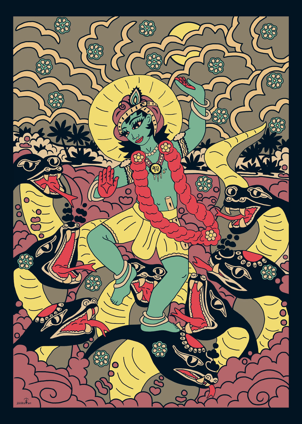 Sri Krishna dancing on Kaliya serpent - retro by Mohinipriya