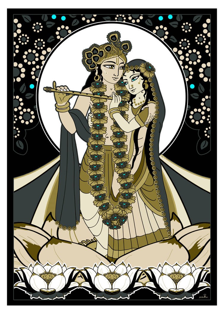 Radha Krishna on Lotusflower - brown by Mohinipriya