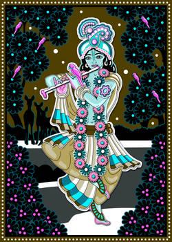 Sri Krishna playing flute on the yamuna river
