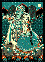 Radha Krishna on Lotus Flower