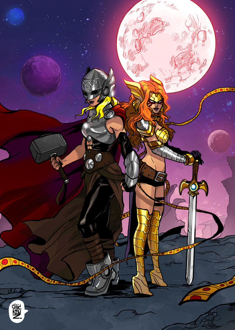 Thor and Angela by ChickenzPunk