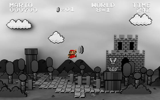 Mario Level Black and White by CodFather