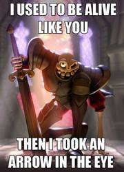 Sir Dan took an arrow by JoshikoseiSnak
