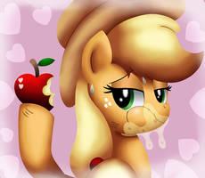Applejack eats an apple