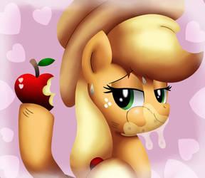 Applejack eats an apple by King-Sombrero