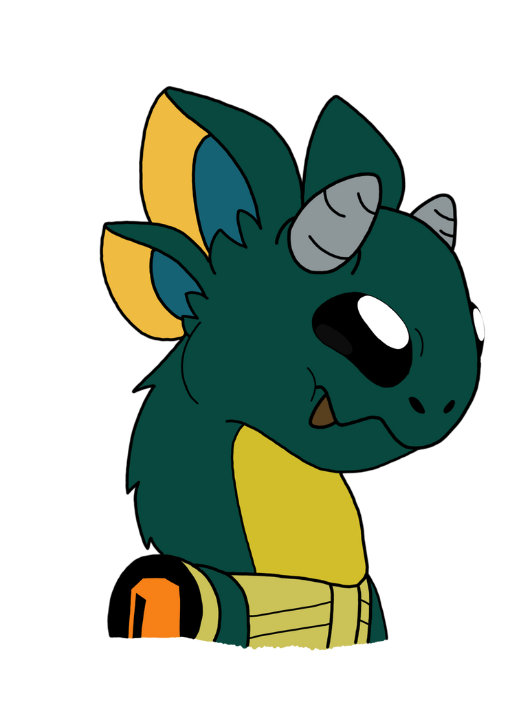 Baby Protogen Dragon With its Visor Off by vaporeon1511