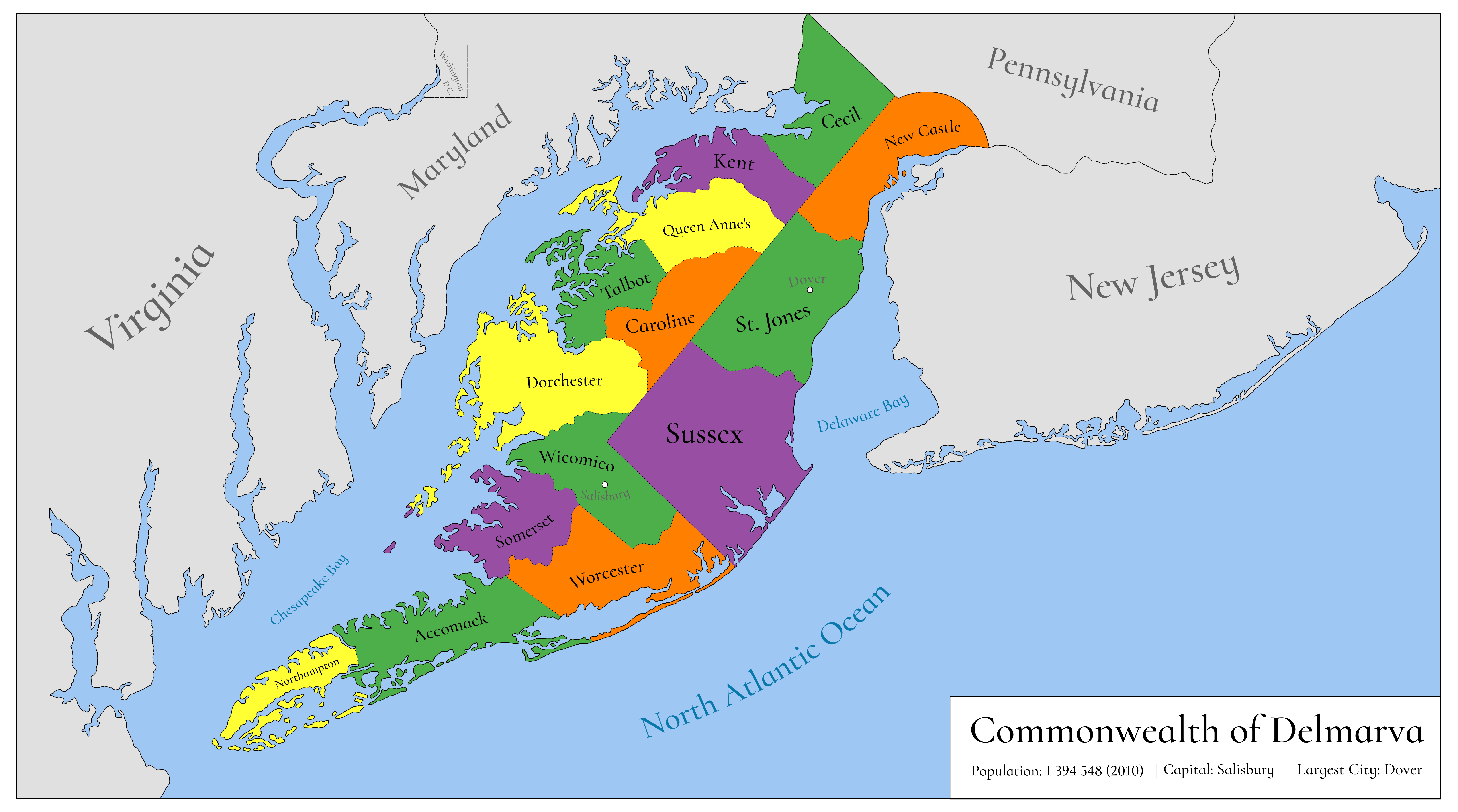 Delmarva (proposed state) by Luis2100PT on DeviantArt on virginia peninsula, adirondack high peaks map, dominion power service area map, rehoboth beach, delaware map, california shipwreck map, virginia map, northeast us road map, indian river, dewey beach, bethany beach neighborhood map, cape henlopen, olde england map, west va map, east coast map, long island map, state of deseret, gloucester county va map, sussex county, delaware bay, bethany beach, district of columbia statehood movement, middle peninsula, mexico yucatan peninsula map, georgetown de map, new orleans map, md beaches map, lake county map, dc area and surrounding area map, 51st state, maryland map, state of franklin,