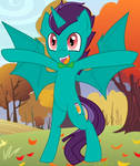 Corpulent Bat Pony Hug with Background