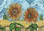 Rereading - Cedar, wheat field and sunflowers
