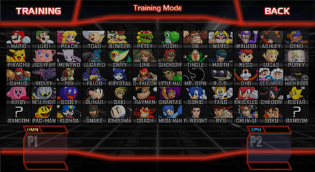 Super Smash Bros. Crusade Character Select Screen