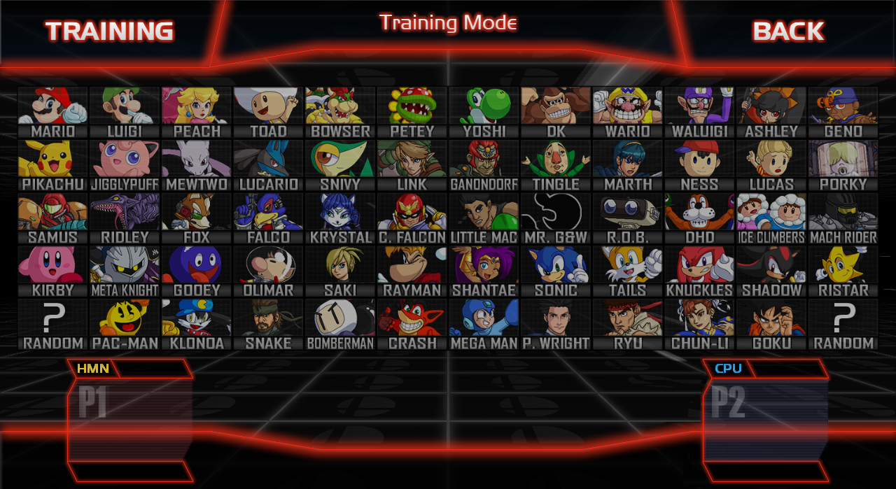 Super Smash Bros. Crusade Character Select Screen by athorment