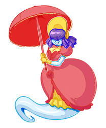 Penny Plasm under umbrella